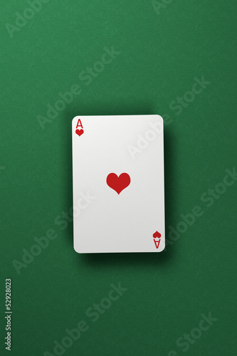 Ace of Hearts floating above green felt surface
