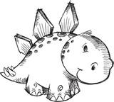 Cute Sketch Doodle Stegosaurus Dinosaur Vector Illustration