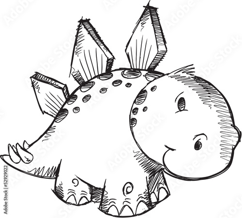 Cute Sketch Doodle Stegosaurus Dinosaur Vector Illustration