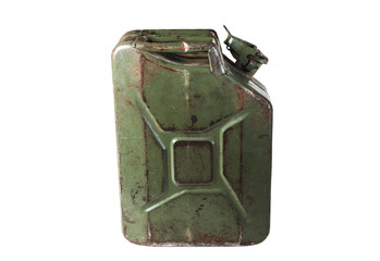 old jerrycan isolated on white background