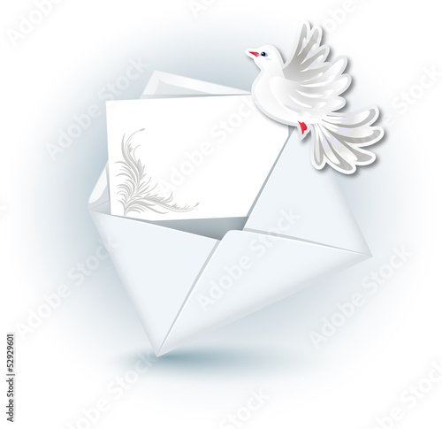 Open envelope and  dove