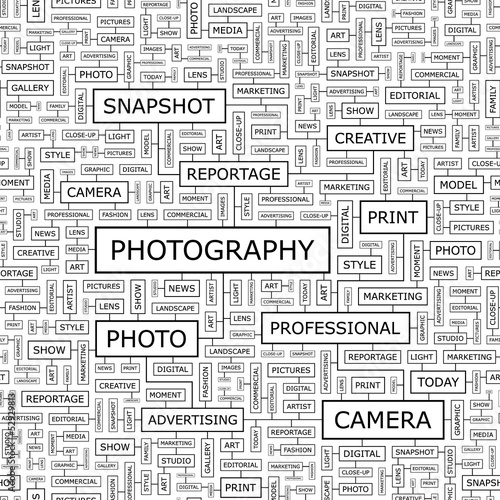 PHOTOGRAPHY. Word cloud concept illustration.