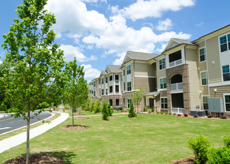 Typical apartment complex building in suburban area