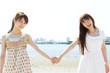 Beautiful asian women on beach summer holiday