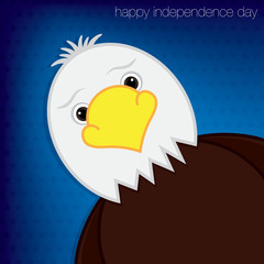 """Eagle """"Happy 4th of July"""" card in vector format."""