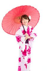 Beautiful young woman wearing japanese traditional kimono