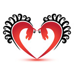 Horses heart shape logo vector