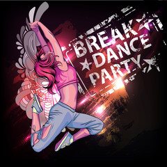Breake dance party poster