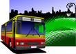 City panorama with bus and lamp images. Coach. Vector illustrati