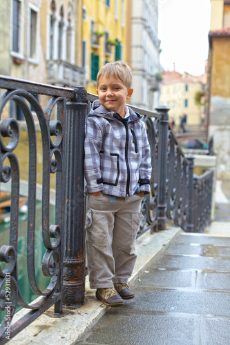 Venetian view  and boy