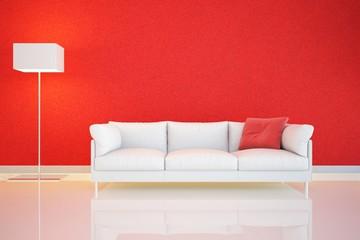 muro rosso e divano