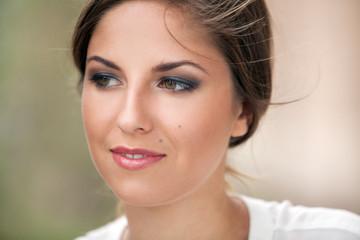 Beautiful caucasian woman with makeup