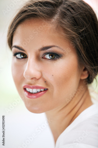 Beautiful caucasian woman with makeup