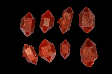 Red double-terminated quartz crystals