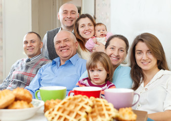 Portrait of large happy multigeneration family