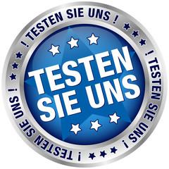 """Button """"Testen Sie uns"""" blau/silber"""