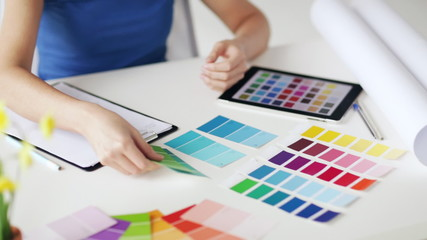 woman with color samples for selection