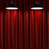 lamp and curtains