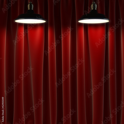Leinwanddruck Bild lamp and curtains