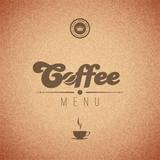 Coffee vector background menu poster. Retro design template