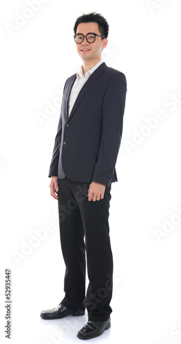 Chinese male full length with coat on isolated white background