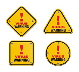 set of virus warning signs