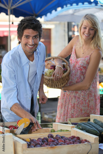 Couple at a market stall