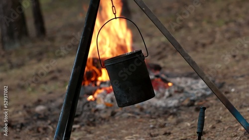 Tourist pot on the fire