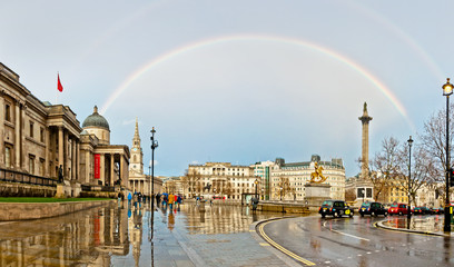 rainbow over Trafalgar Square in London, UK