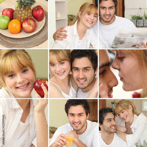 Montage of couple eating a nice healthy breakfast together