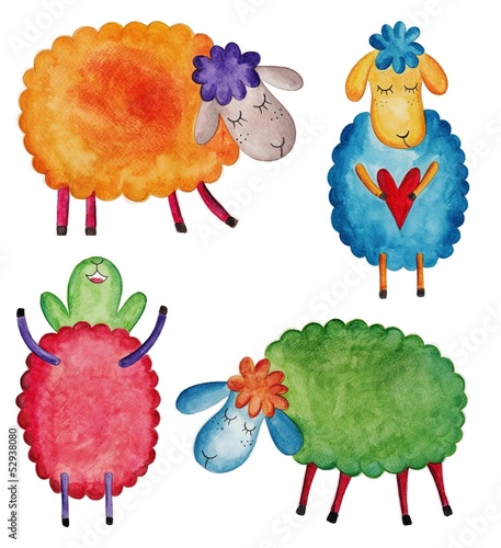 Set of cartoon sheep