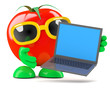 Tomato inspects his new laptop