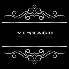 Black and white vintage jewelry background