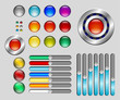 Set of colorful buttons and sliders