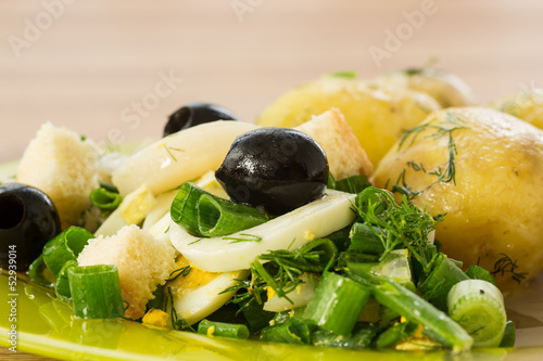 green salad with onion and squid