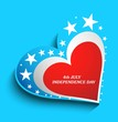 4th july american independence day heart with star blue vector b