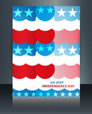American flag independence day texture brochure card vector