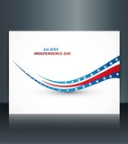 American flag independence day wave brochure card vector illustr