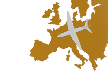 Airplane and europe map