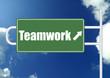 Teamwork road sign board