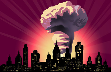 atomic explosion cloud in modern city