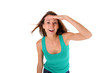 Smiling girl with tank top looking away
