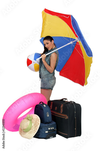 young woman going on vacation