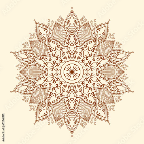 Mandala. Beautiful hand-drawn flower.