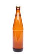 A brown bottle with drink on white background.