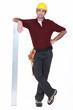 Tradesman leaning against a girder