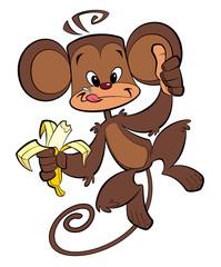 Cartoon happy monkey eating banana