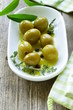 green olives with fragrant oil and spices