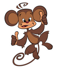 Cartoon happy monkey