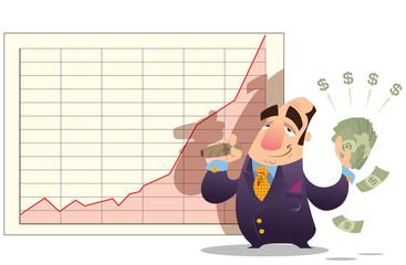 Man winning money as stock market goes up